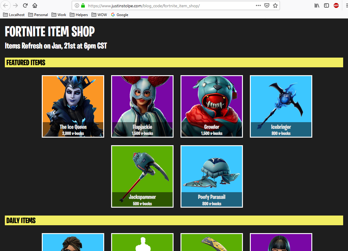 Custom Fortnite Item Shop with PHP, HTML, CSS – Justin Stolpe
