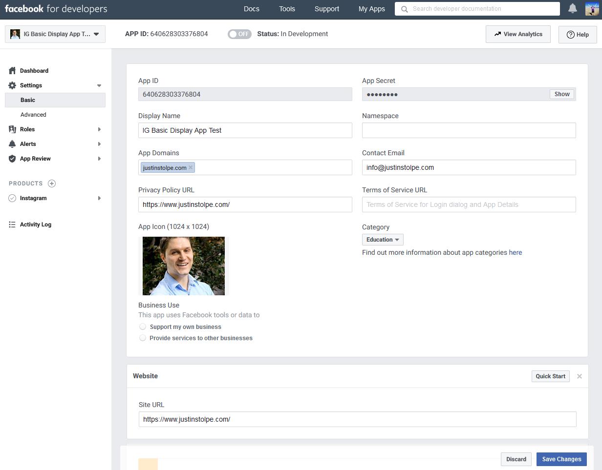 Facebook App Settings Basic